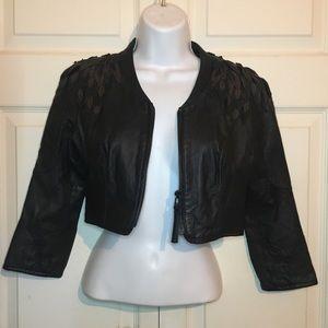 Black Cropped Leather Jacket